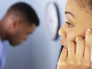 Lady having initial free telephone consultation with therapist